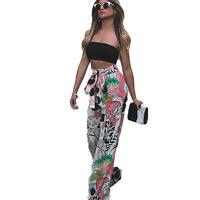 Womens pantalon Yoga Palazzo jambes larges taille haute long en vrac sport