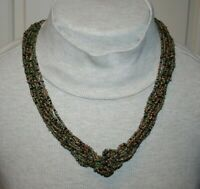 Vintage Muti Strand Knotted Seed Bead Necklace Colors ~ Antique Gold Green Black