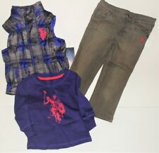 U.S. Polo Assn.Toddler Girls 3pc Outfit Vest Long Sleeve Shirt Jeans Size 2T Nwt