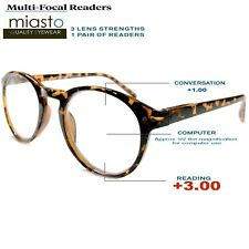 MIASTO MULTI-FOCAL (NO LINE BIFOCAL) COMPUTER READER READING GLASSES +3.00 BROWN