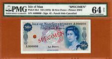 Isle of Man 1972 QEII 50 Pence SPECIMEN Sign *Stallard* Pick-28s1 Ch UNC PMG 64