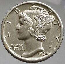 1934 US Mercury Dime 90% Silver gEF Coin