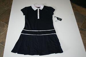 NWT U.S. Polo Assn. Girls Navy S/S Button Collar School Uniform Dress Sz S 7/8