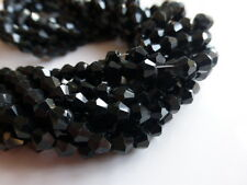 1 Strand x 4mm Sparkly Black Faceted Crystal Glass Bicone Beads -Apprx 100 Beads