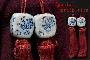 Japan antique Fuchin set 2 Pottery kakejiku hanging scroll yoroi samurai temple