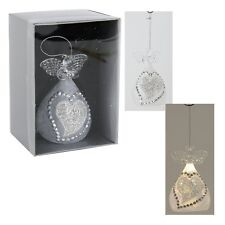 Engel aus Glas mit LED Beleuchtung zum.hä. mit .Herz / Strass 10cm silbernen 432