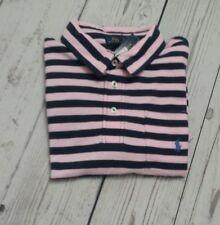 Ralph Lauren Pocket Polo Shirt Short Sleeve Pink Blue Striped Size:XL 18 - 20#R7