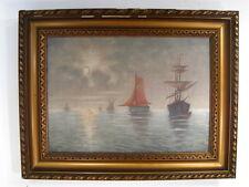 """Peinture Marine Huile HST """" à l'aube, sur la côte bretonne """" signé Nélaton XXème"""