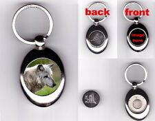 WOLF TROLLEY COIN TOKEN KEYRING ANIMAL LOVER PHOTO GIFT