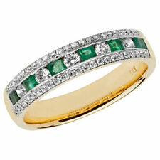 Anelli di lusso con gemme verde in oro giallo 9 carati