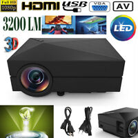 7000 Lumens 1080P HD 3D LED Projector Home Cinem HDMI USB VGA BN