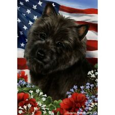 Patriotic (1) House Flag - Black Cairn Terrier 16327