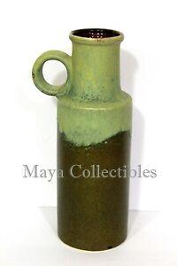 "Mid Century Art Pottery Vase Jug Green SCHEURICH KERAMIK WEST GERMANY  11"""