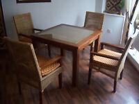 ESSTISCH GARNITUR Set Essgruppe Teak Voll Holz Massiv Tisch Stühle Rattan Möbel
