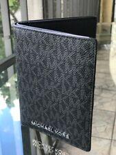 Michael Kors Women Leather Care Card Holder Passport Case id Wallet Black Silver