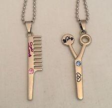5cm Hairdressers Pendant Scissors & Comb Hair Dresser Charm Clippers Silver Bag