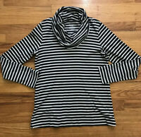 LL Bean Women's Pima Cotton Cowl Neck Sweatshirt Top Gray Stripe Long Sleeve S