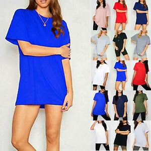 Ladies Womens Baggy Oversized Plain Stretchy Jersey Casual Basic T shirt Tee Top