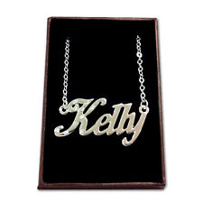 White Gold Plated Name Necklace - KELLY - Gift Idea For Her - Anniversary Custom