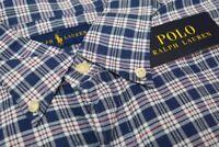 NEW $89 Polo Ralph Lauren Long Sleeve Shirt Mens Navy Blue Plaid Oxford NWT