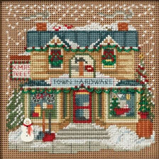 Cross Stitch Kit Mill Hill Buttons & Beads Winter Town Hardware Store #MH14-1631