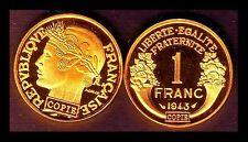 ★★★ JOLIE COPIE PLAQUEE OR DE L'INTROUVABLE 1 FRANC 1943 GRAZIANI  ★★★ NEUVE FDC