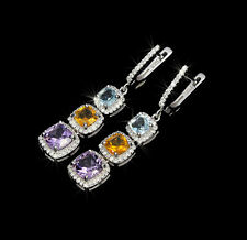 925 Sterling Silber Ohrringe, Weißgold Vergoldet, Amethyst/Blautopas/Citrin & CZ