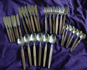 Vintage Set Of 30 x Wooden Handled Stainless Steel Cutlery