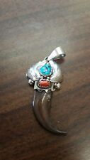 Navajo handmade sterling silver bearclaw pendent turquoise coral