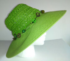 SCALA COLLEZIONE HAT Womens Wide Brim Sun Hat Green With Beaded Band Packable