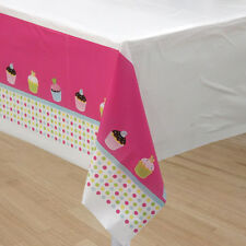 HAPPY BIRTHDAY SWEET TREATS PLASTIC TABLE COVER ~ Party Supplies Cloth Cupcakes