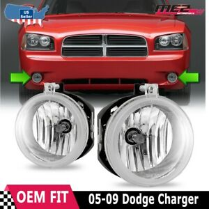 For Dodge Charger 06-09 Factory Bumper Replacement Fit Fog Lights Clear Lens