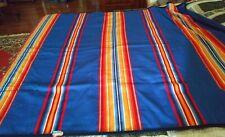 "RARE Vintage 80""x 64"" PENDLETON Multi-color Stripe Wool/Cotton Blanket Very Nice"