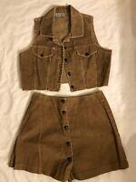 Vintage 1990's Jacket Corduroy Vest Skort Short Set Grunge By Rebellious Medi/Lg