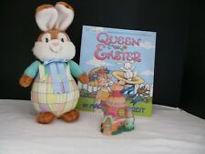 "Easter Trio: Plush Bloomer Bunny, ""Queen of Easter"" by Mary Engelbreit, and a Ho"