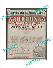 OLD LARGE HISTORIC POSTER OF SYDNEY NSW LAND SALE POSTER, WAHROONGA c1903