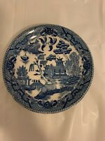 VINTAGE BREAD PLATE BLUE WILLOW LOOK MADE IN JAPAN BLUE WHITE