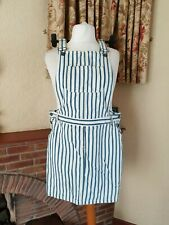 CREAM BLUE DENIM STRIPE PINNAFORE DUNGAREE  CASUAL DRESS FROM NEXT -   SIZE 14