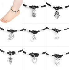 Black Cord Leaf Hamsa Owl Pineapple Heart Ohm Peace Tree Clover Sun Charm Anklet
