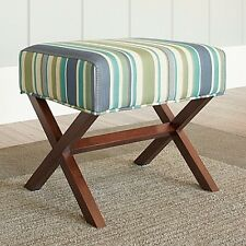 Upholstered Ottoman Wooden Legs Seat Stool Bench Top X-Shape Furniture Stripes