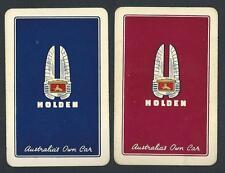 #100.692 vintage swap card -FAIR/EXC pair- Advert. Holden cars, blue & red