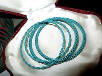 4 Lovely vintage turquoise metal bangles bracelets