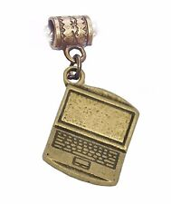 Laptop Computer Technology Office Bronze Tone Dangle Charm for European Bracelet