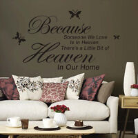 Hot Sale Because Someone We Love Is In Heaven Sayings Words  Decor Wall Sticker
