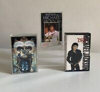 Michael Jackson Dangerous ,Greatest Hits & Bad Cassette Tapes x 3 Bundle Epic