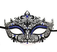 Venetian Metal Filigree Masquerade Mask Masked Ball Laser cut Ornate Blue Stones