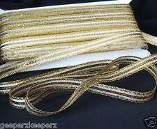 "Metallic Gold Flat Woven Ribbon Trim Five (5) Yards X 1/2"" wide NEW GOLD"