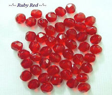 50 Ruby Red Fire Polished Faceted Round Glass Beads 6MM