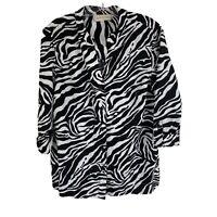 Jones New York Size Large Zebra Print 100% Linen 3/4 Sleeve Button Up Shirt