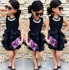 2-8T Sweet Toddler Kids Girl Clothes Sleeveless Ruffle Tulle Party Dress Dresses